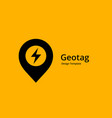 geotag with lightning or location pin logo icon vector image vector image