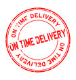 grunge red on time delivery word round rubber vector image vector image