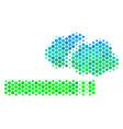halftone blue-green cigarette smoke icon vector image vector image