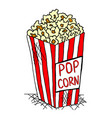 Hand drawn pack of pop corn junk food vector image