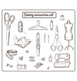 hand drawn tailoring elements collection vector image vector image