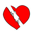 hand holding with help gesture in red heart shape vector image vector image