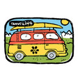 hippie traveling bus with surfing board luggage vector image