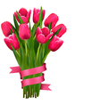 Holiday background with bouquet of pink flowers