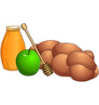 Honey Jar Apple And Chala For Rosh Hashanah vector image vector image