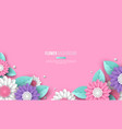 horizontal banner with paper cut 3d flowers in vector image vector image