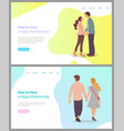 how to build happy relationship boyfriend set vector image