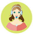 icon girl call center employee in a flat style vector image vector image