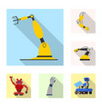 isolated object of robot and factory icon set of vector image vector image