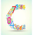 Letter C colored font from numbers vector image vector image