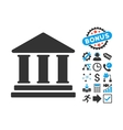 Library Building Flat Icon with Bonus vector image vector image