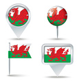 Map pins with flag of Wales vector image