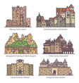 medieval castles or old fortress architecture set vector image vector image