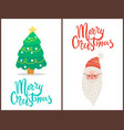 merry christmas tree and santa vector image vector image