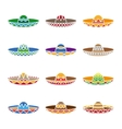 Mexican sombrero color flat icons set vector image