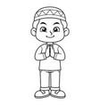 moslem boy greeting salaam bw vector image vector image