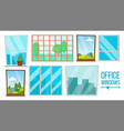 office windows set business apartment vector image vector image