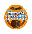 oktoberfest label with a beer barrel vector image vector image
