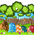 Painted Easter eggs in the grass vector image