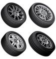 passenger automobiles wheels bundle vector image