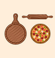pizza set colored objects or elements vector image vector image