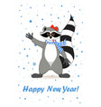 raccoon a gargle greeting card for new year and vector image