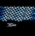 racing checkered flag background in blue neon vector image