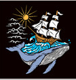 sailing boat and whale vector image vector image