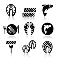 salmon fish and meal - food icons set vector image vector image