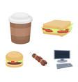 sandwich coffee shish kebab burgerfast food vector image vector image