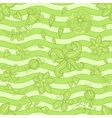 seamless pattern doodle flowers Green mosaic vector image vector image