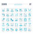 set blue line icons health and beauty