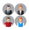 set icons with callcenter agents talking vector image vector image