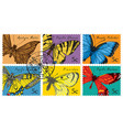 set of postage stamps with various butterflies vector image vector image