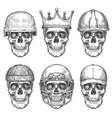 skull in hats dead head characters with crown vector image