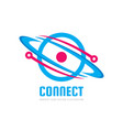 space satellite logo in classic graphic vector image