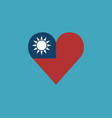 taiwan flag icon in a heart shape in flat design vector image