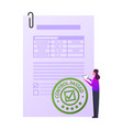 tiny female character stand at huge paper document vector image vector image