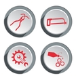 Tools icons set Saw tongs cogwheel wrench key vector image