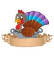 turkey bird in pan theme banner 1 vector image vector image