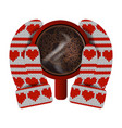 valentines day hands in knitted mittens hold a vector image vector image