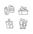 volunteering linear icons set altruistic activity