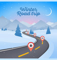 winter snowy landscape with winding road pathway vector image