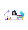 woman with laptop studying or working concept vector image vector image