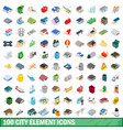 100 city element icons set isometric 3d style vector image