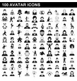 100 avatar icons set simple style vector image vector image