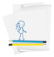 A paper with a drawing of a girl vector image vector image
