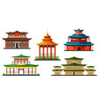 asian buildings chinese temples and pagodas icons vector image