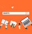 benefits search graphic for business vector image vector image