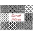 Black and white damask floral patterns set vector image vector image